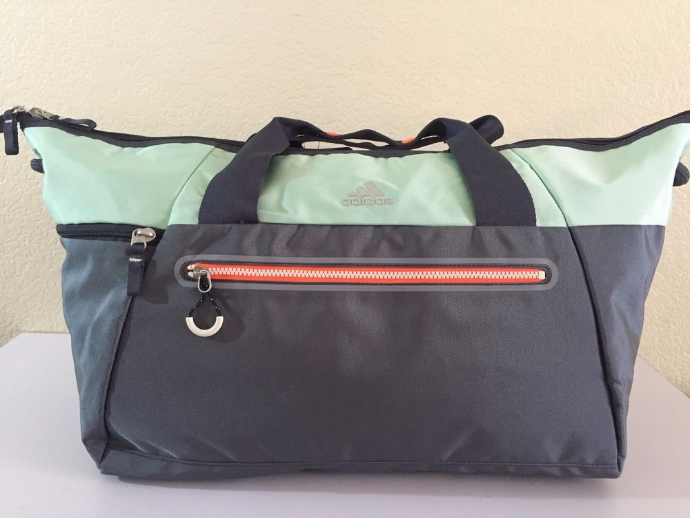 98e60f687b ADIDAS Women s Studio Duffel Grey Green Gym Bag luggage 12.5