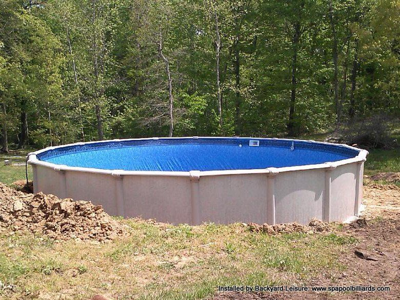 24ft St Thomas Above Ground Swimming Pool Buried Halfway In The Ground Above Ground Pool Sloped Yard In Ground Pools