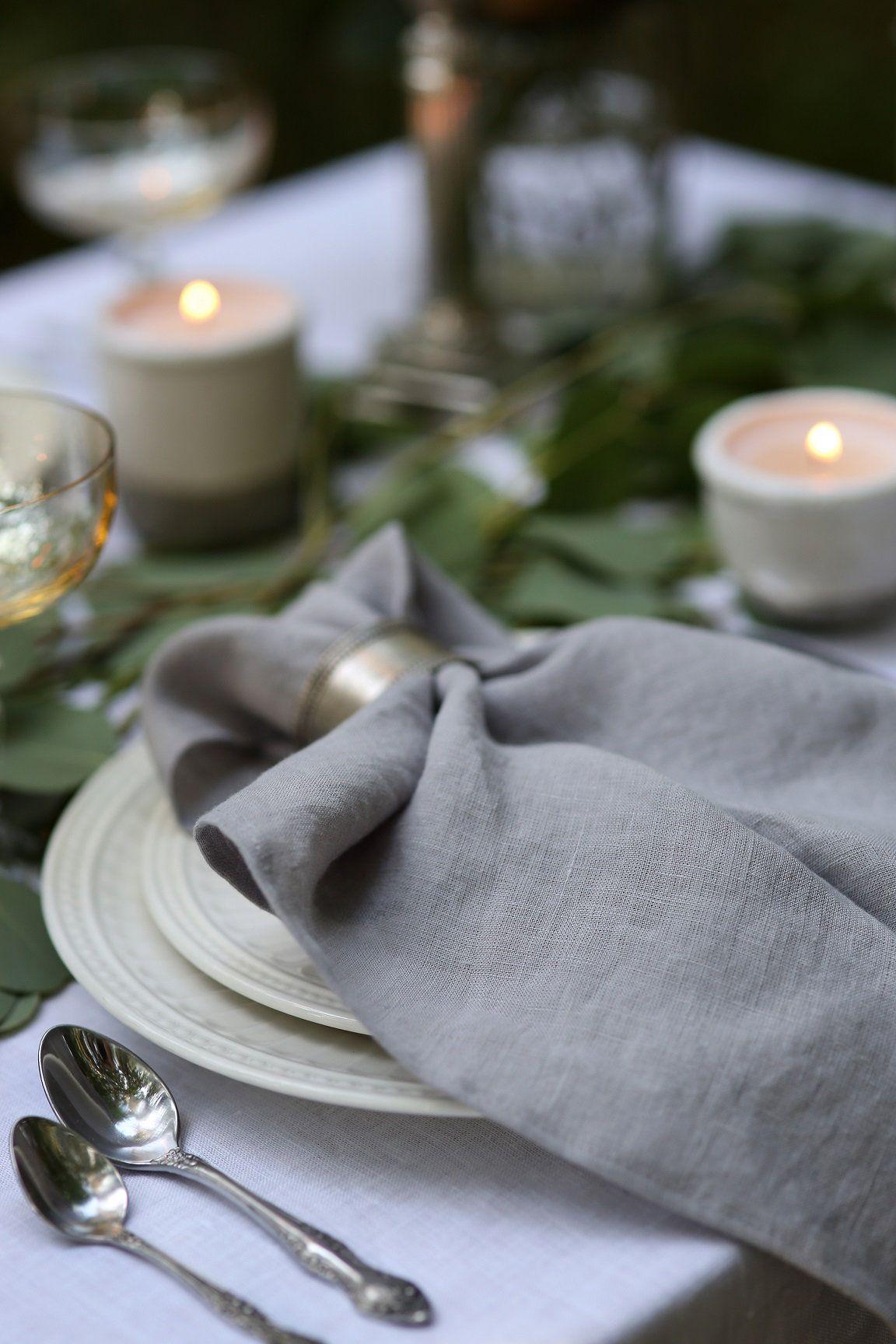 Light Grey Linen Napkin Set Grey Napkins Cloth Linen Napkins Blush Pink Napkin Handmade Napkins Table Linens Linen Napkins Napkins Set Gray Linen Napkins