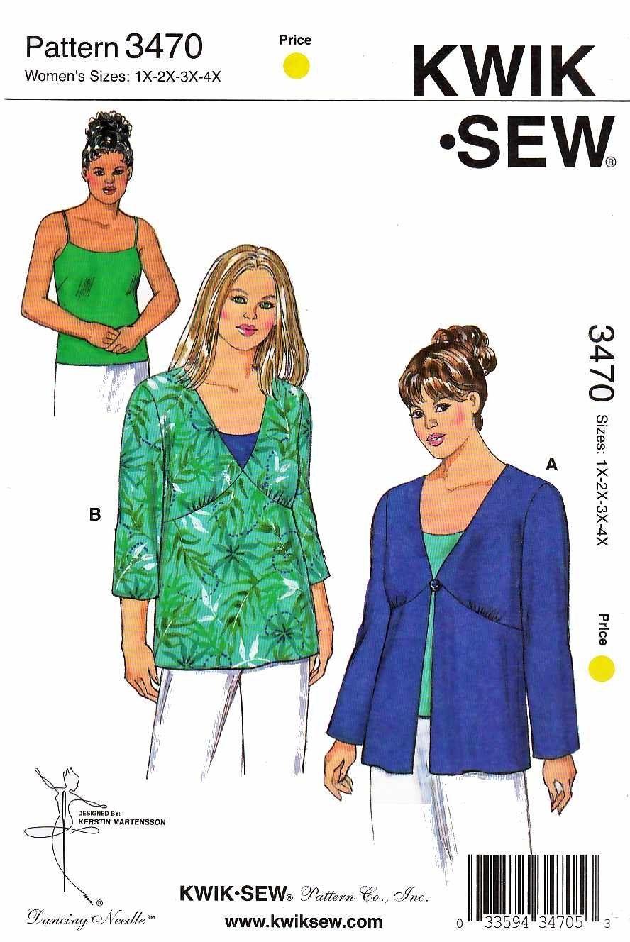 Kwik Sew Sewing Pattern 3470 Women\'s Plus Size 1X-4X (approx. 22W ...