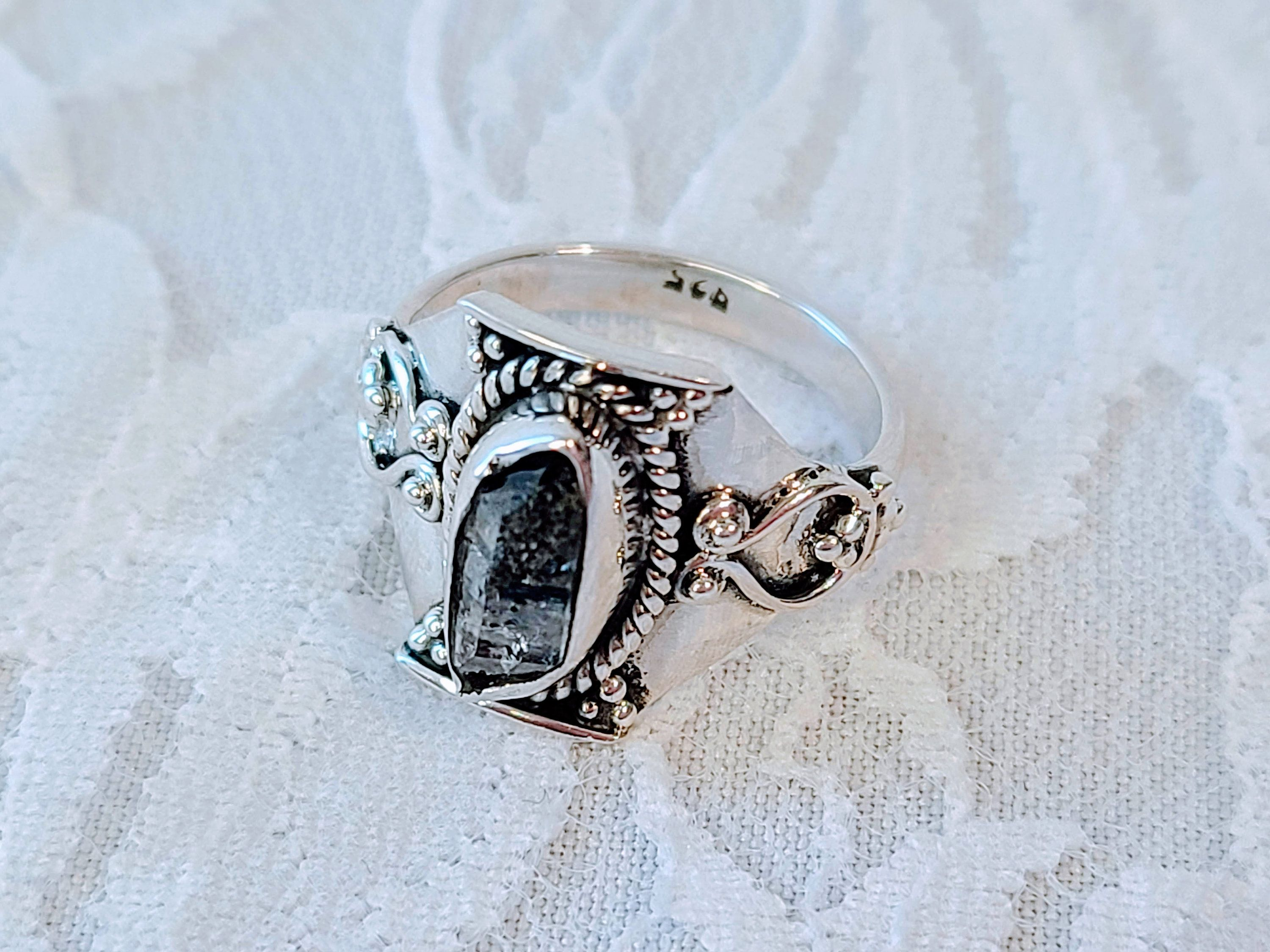 Personal Order Star Sapphire and Herkimer Diamonds Silver Ring 7 12 size,