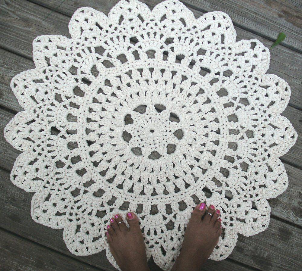Ready to Ship, White Cotton Crochet Doily Rug 30\