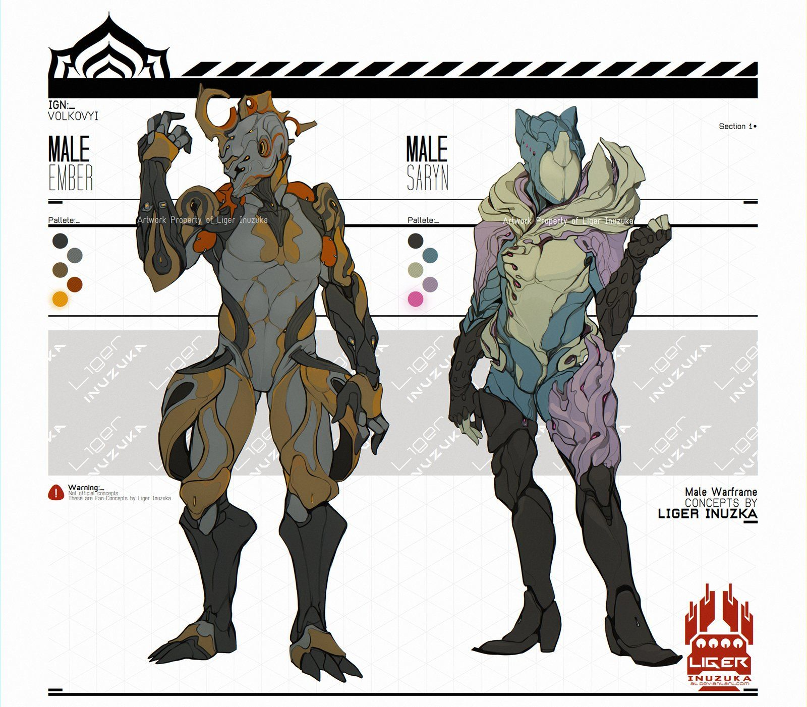 Warframe: Male Saryn and Male Ember Concept, Liger Inuzuka on ArtStation at https://www.artstation.com/artwork/warframe-male-saryn-and-male-ember-concept