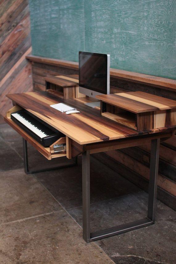 Large Modern Wood Recording Studio Desk for Composer Producer