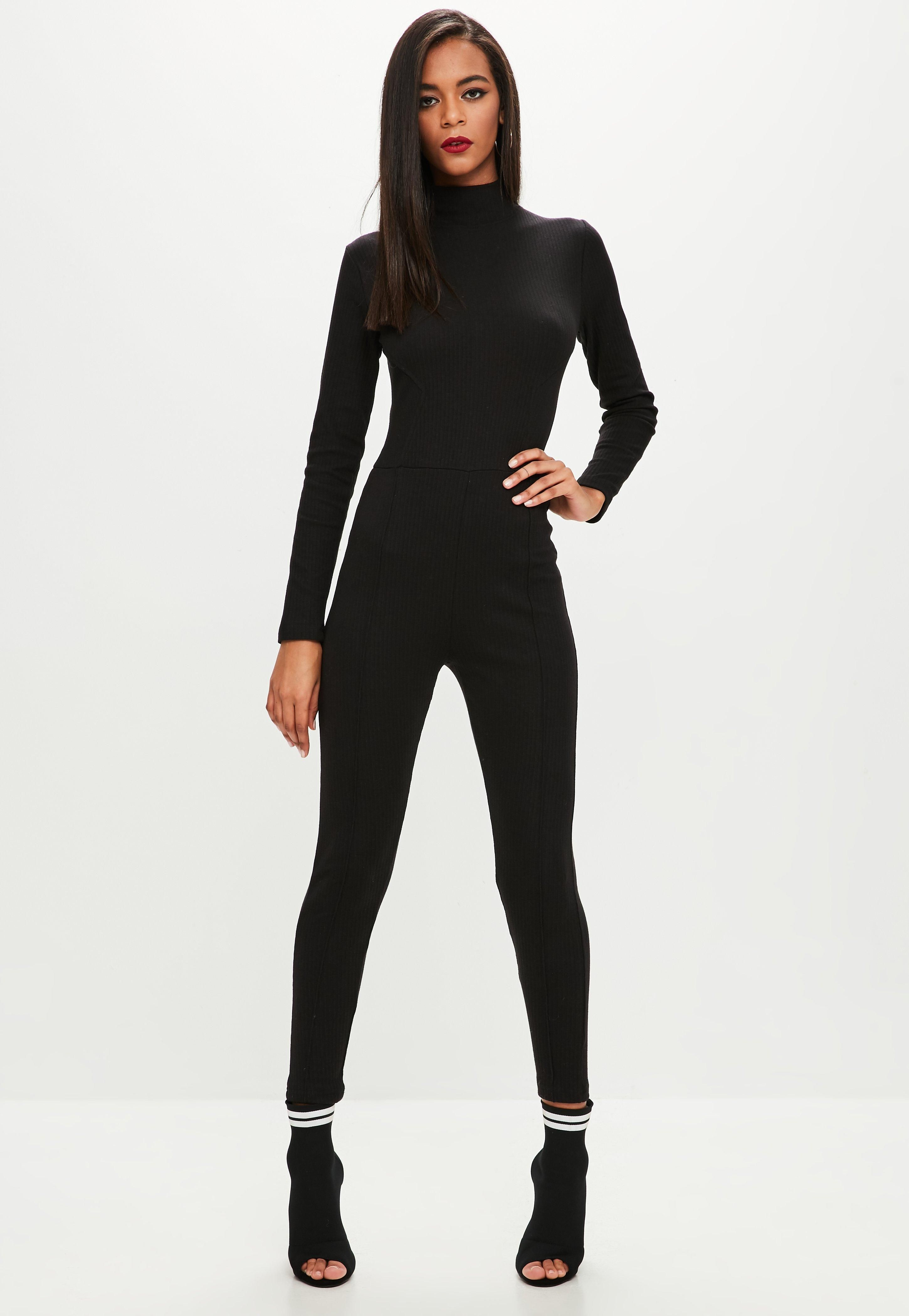 This Black Jumpsuit Features A High Neck Long Sleeve And Bodycon Fit Jumpsuit Jumpsuits For Women High Neck Jumpsuit [ 4200 x 2900 Pixel ]