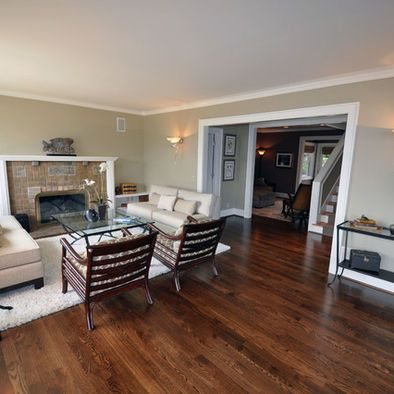 Dark Hardwood Flooring White Trim Beige Walls