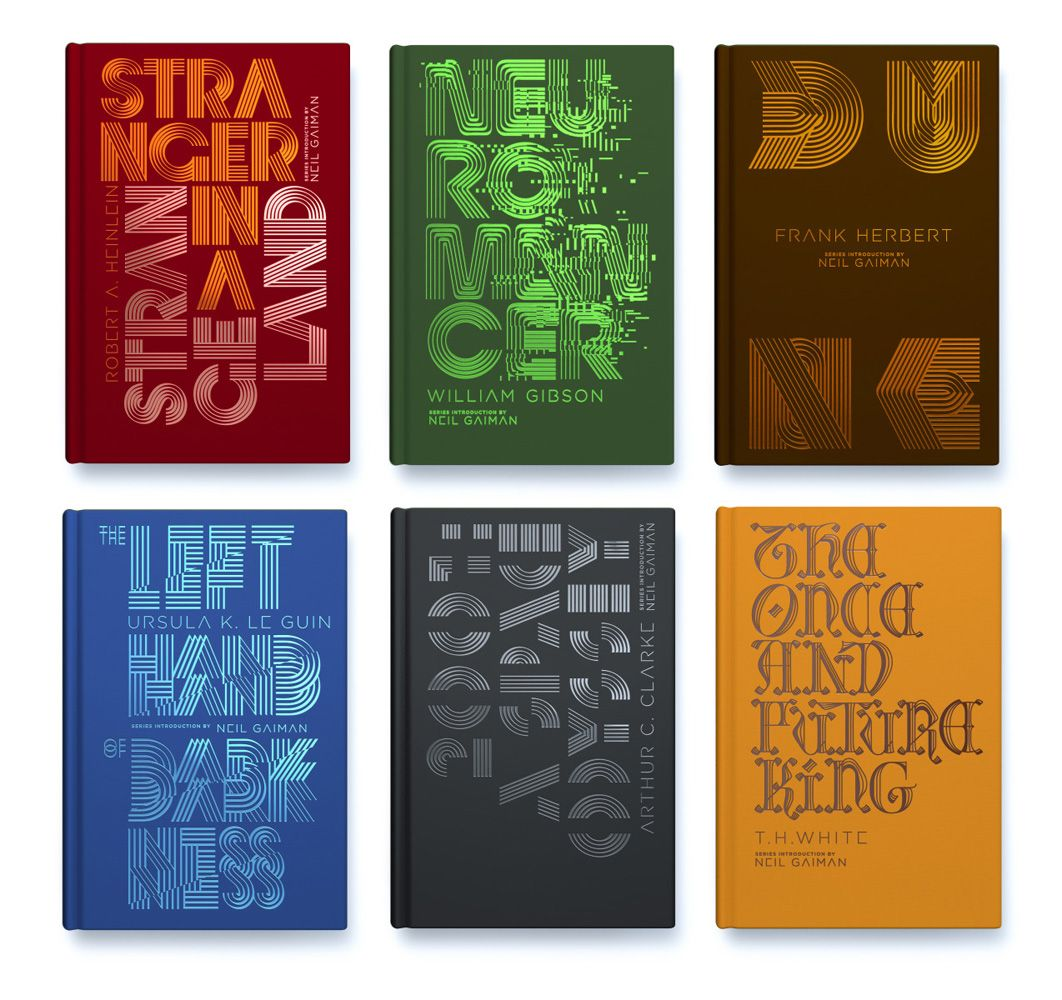 Penguin Galaxy S New Box Set Of Six Different Classic Sci Fi And Fantasy Books Cover Designs By Alex Troc Book Series Design Classic Sci Fi Books Sci Fi Books