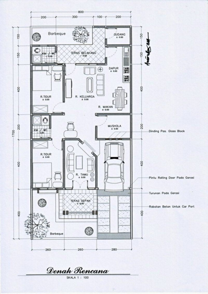 Denah Rumah Minimalis 7x9 1 Lantai 1 Rumah Minimalis Di 2019