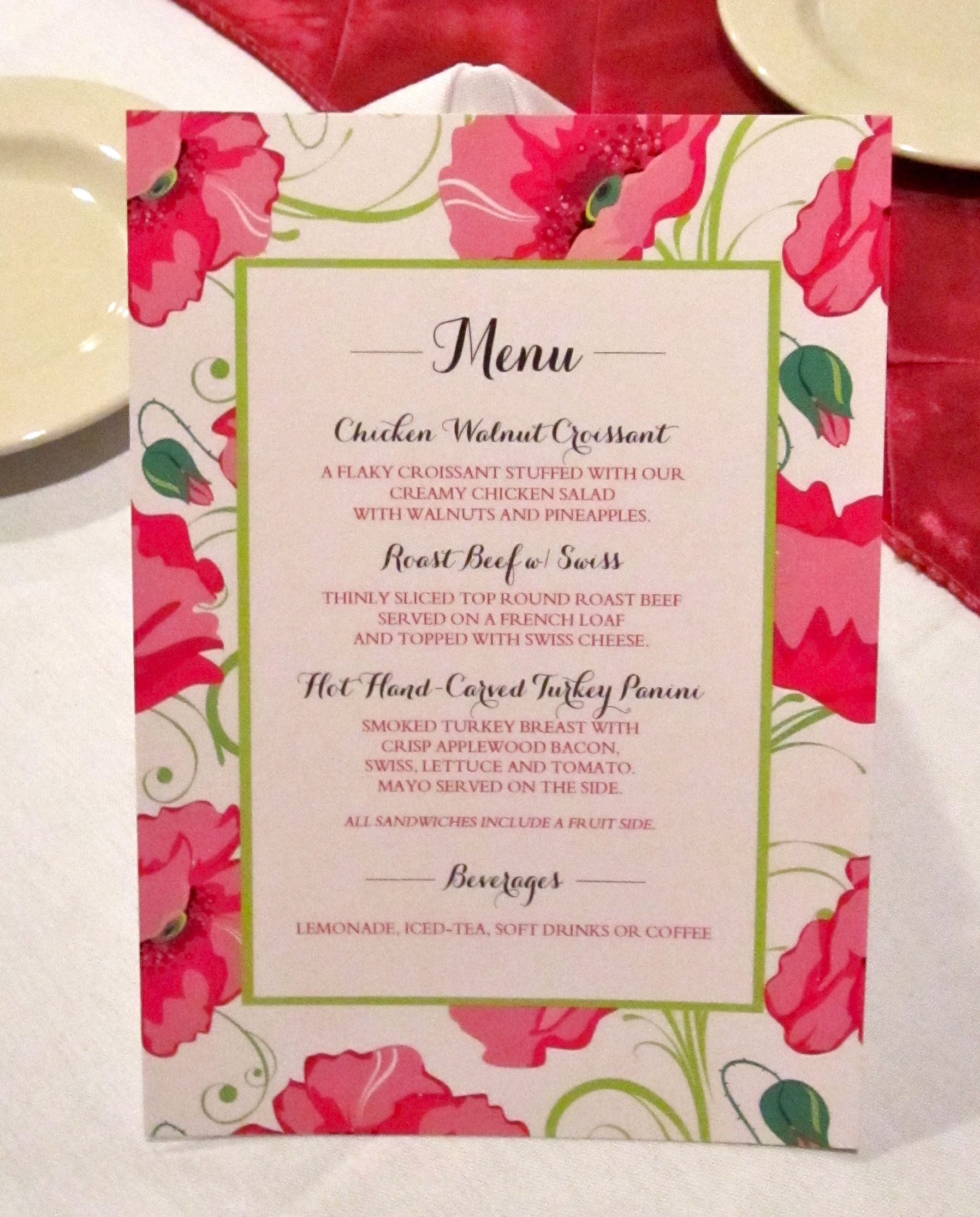 bridal shower menu card