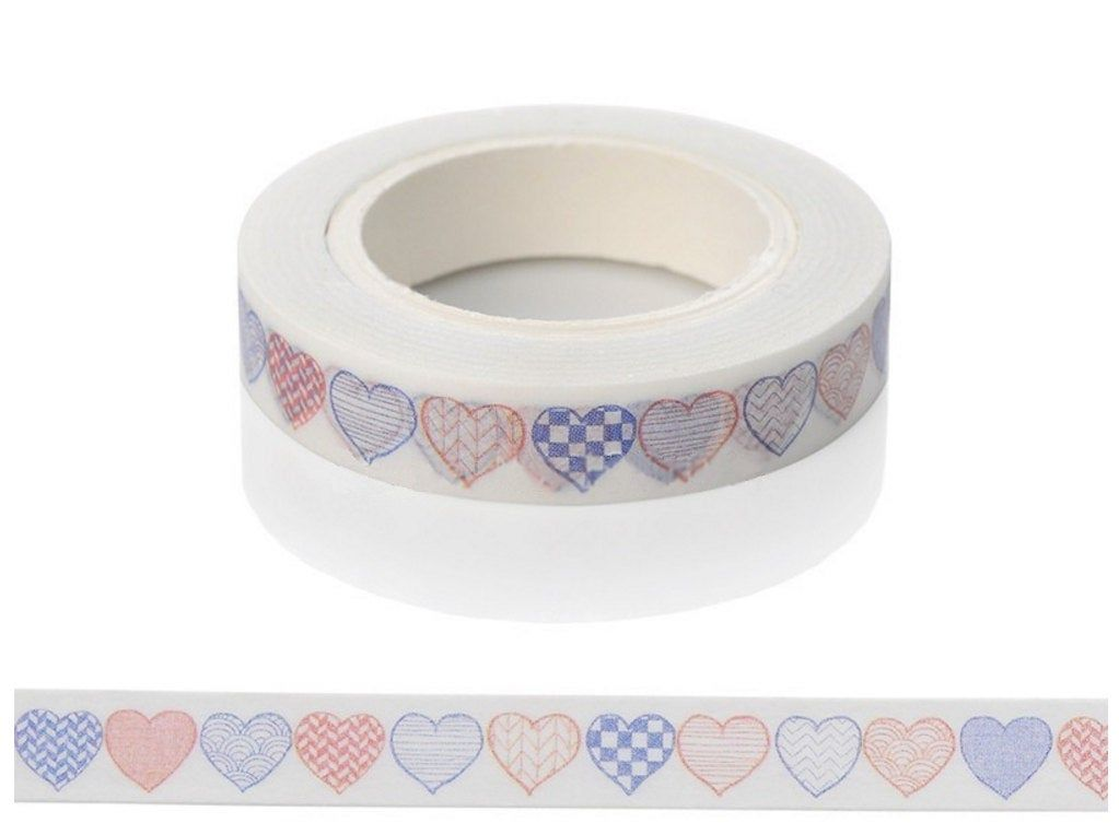 Fun Washi Tape Decorative Heart Pattern Tape 2 Same Design Full Size 10m Rolls Of 8mm Paper Tape With Images Paper Tape Scissors Design Washi Tape