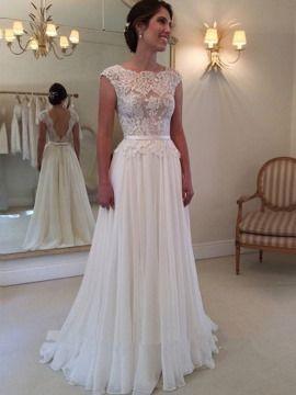 Lace Top Backless Chiffon Long Beach Wedding Dress Informal - Wedding Dresses For Cheap