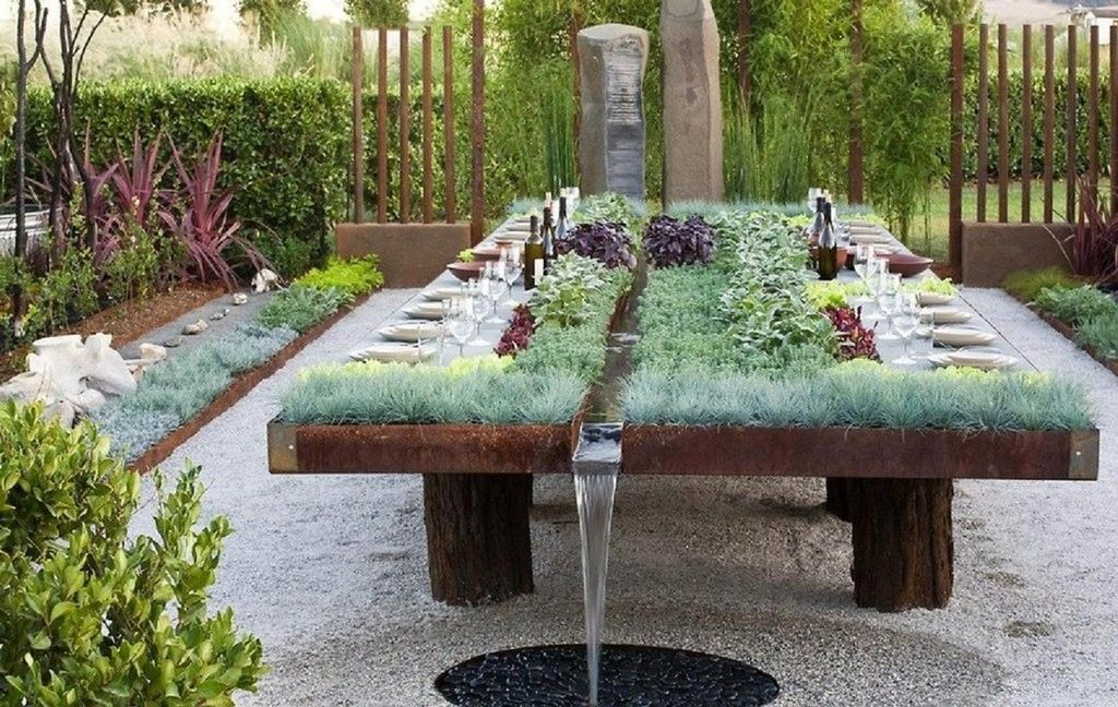Planted Dining Table with Fountain Outdoor gardens