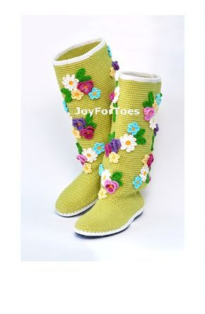 Crochet Boots for the Street Floral Boho Chic Boots Outdoor ...