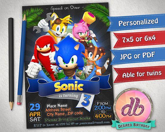 Invitación Sónica Fiesta De Cumpleaños De Sonic Hedgehog