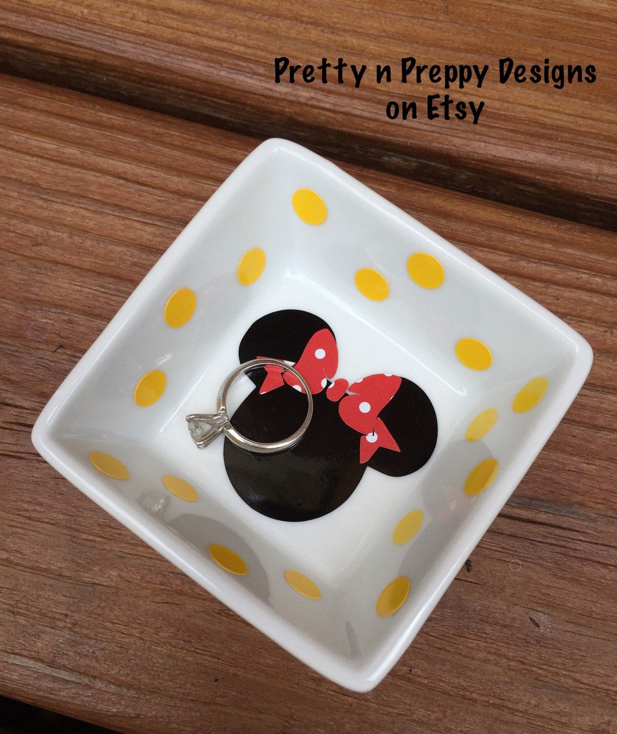 Minnie Mouse, Mickey Mouse Disney Inspired jewerly holder, ring dish by PrettynPreppyDesigns on Etsy