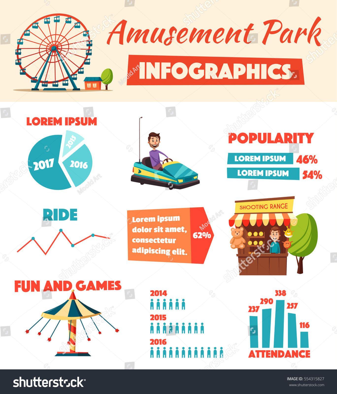 amusement park infographics cartoon vector illustration fun and