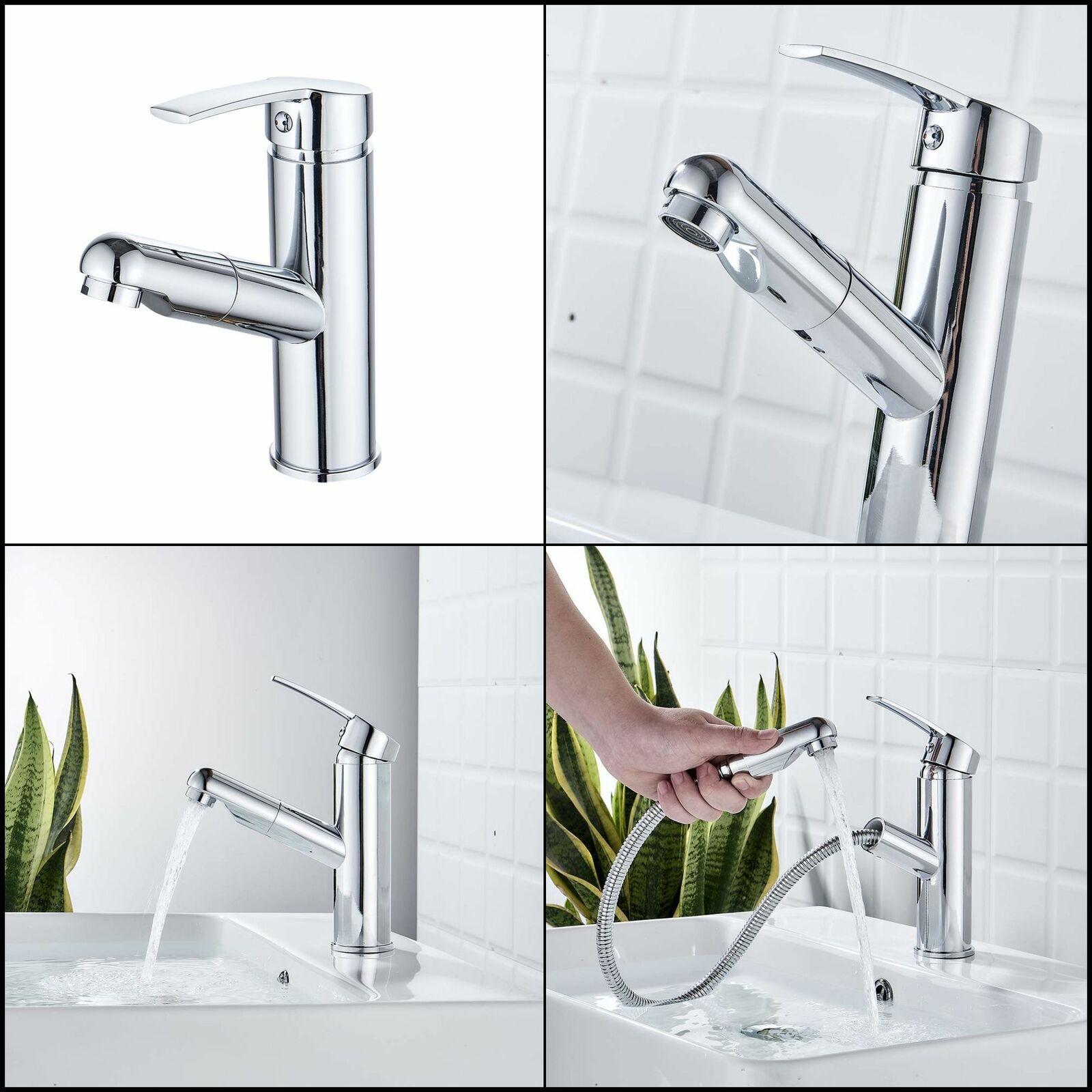 Bathroom Faucet Pule Out Solid Brass Lavatory Basin Sink Faucet