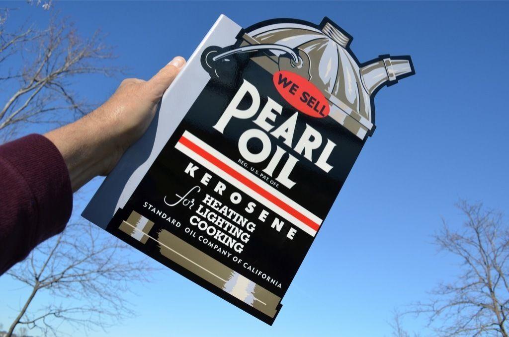 Old Style Standard Motor Oil Pearl Kerosene Dicut Flange Sign Usa Made Thk Steel