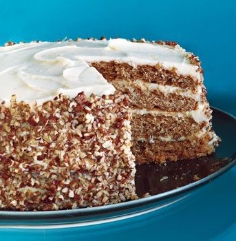 """Pecan spice layer cake with cream cheese frosting from Epicurious & Gourmet - Eat Your Books is an indexing website that helps you find & organize your recipes. Click the """"View Complete Recipe"""" link for the original recipe."""