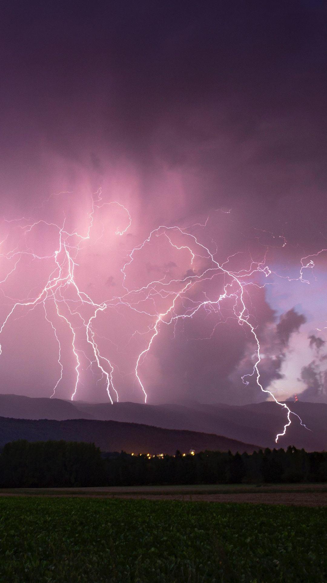 Storm, clouds, sky, landscape, lightnings, 1080x1920