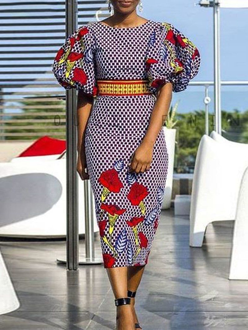 d5aee0beea74 Amazing African Fashion Tips 6338100341. Floral Round Neck Lantern Sleeve  Bodycon Dress