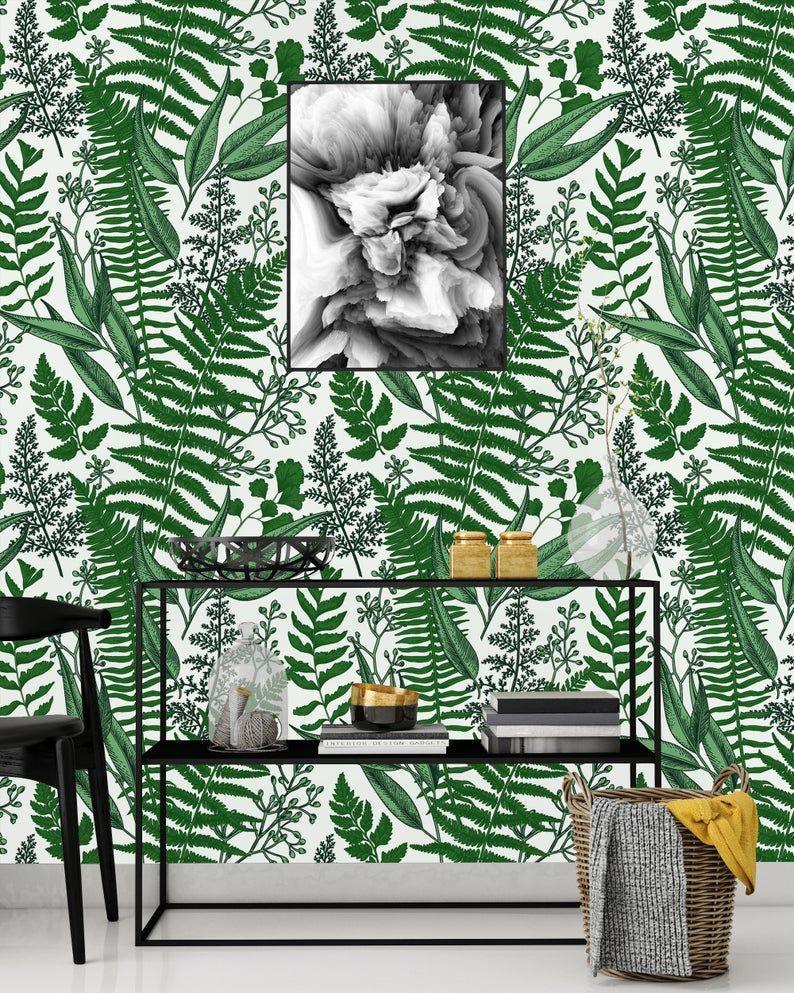 Green Ferns On White Background Removable Wallpaper Peel Etsy Wallpaper Panels Peel And Stick Wallpaper Nursery Wallpaper