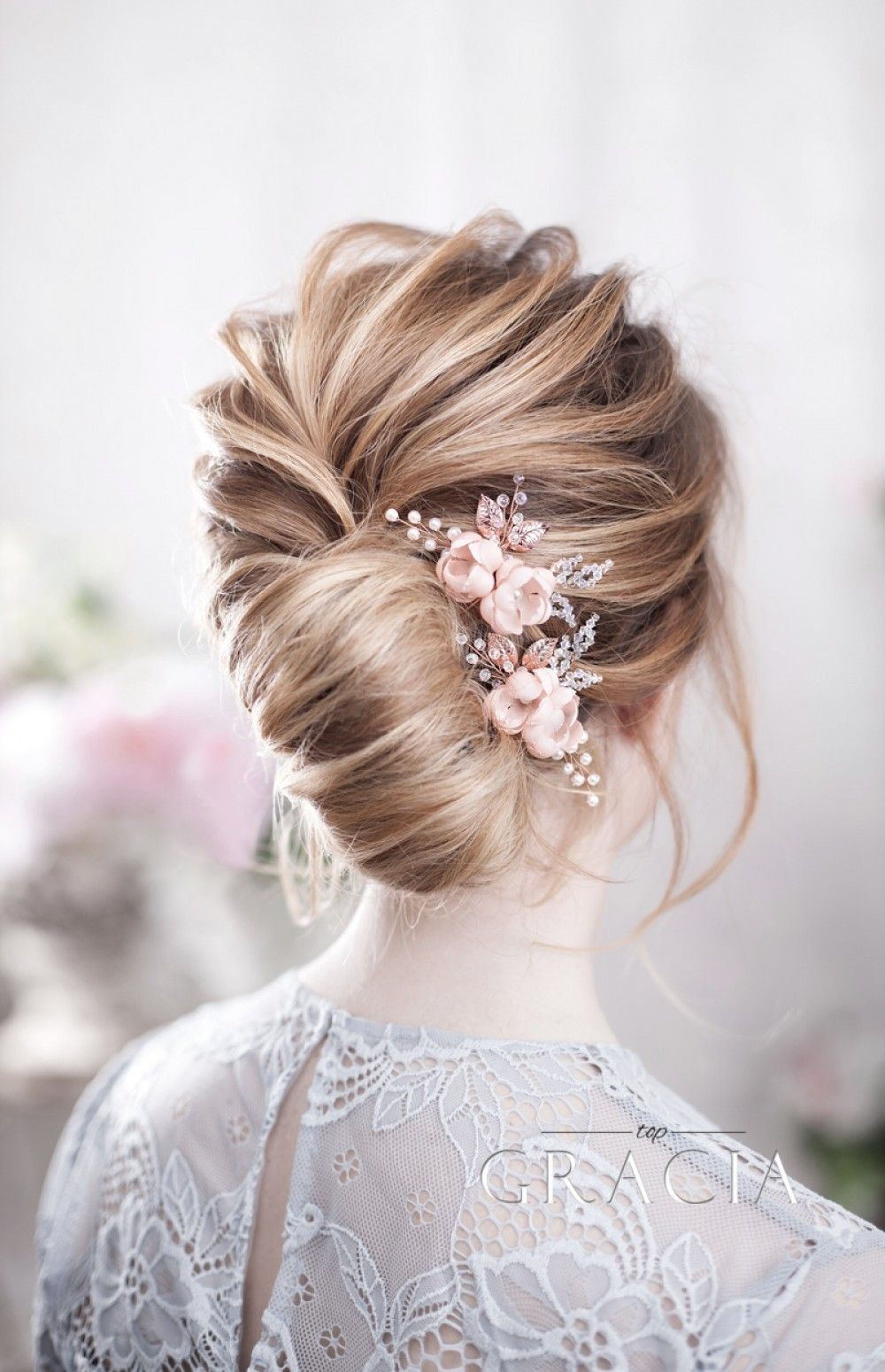 Blush Wedding Hairpins For Romantic Brides By Topgracia Floral