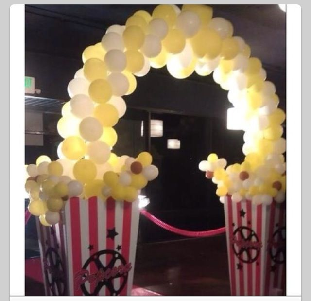 Balloon Arch Popcorn Awesome For Movie Themed Party Movie Night Birthday Party Movie Themed Party Movie Birthday Party