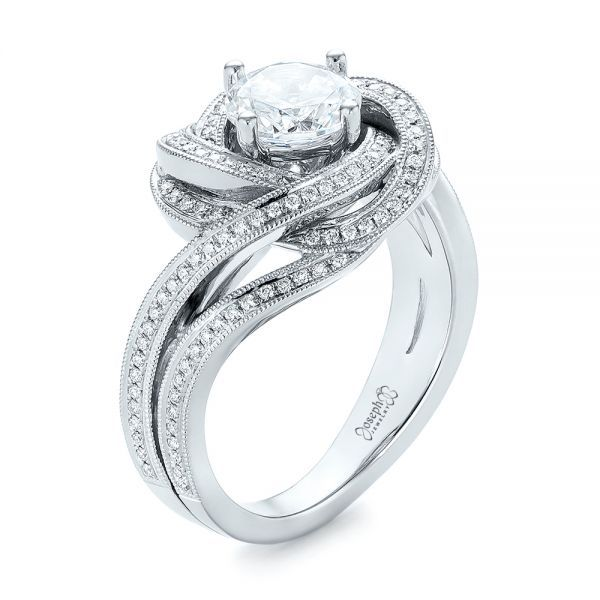 Modern Knot Edgeless Pave Engagement Ring In 2019