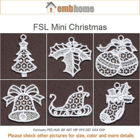 Stand Alone Lace Embroidery Designs : Fsl mini christmas ornament free standing lace machine by