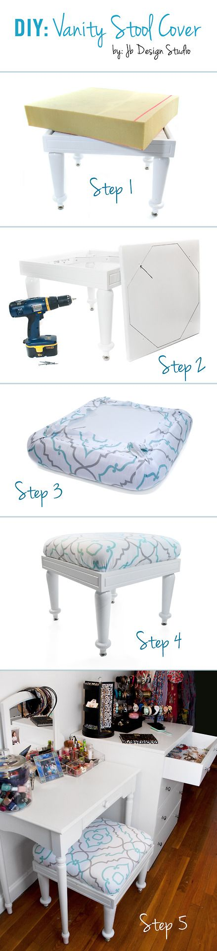 Diy vanity stool Bench Diy Vanity Stool Cover Step 1 Find Stool Or Have One Built thanks Dad Step 2 You Will Need Piece Of Wood To Staple The Fabric And Batting Over The Pinterest Diy Vanity Stool Cover Step 1 Find Stool Or Have One Built
