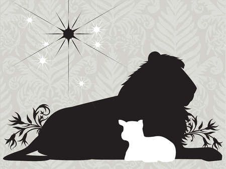 Silhouettes Of A Lion And Lamb With A Bright Star In The Sky By