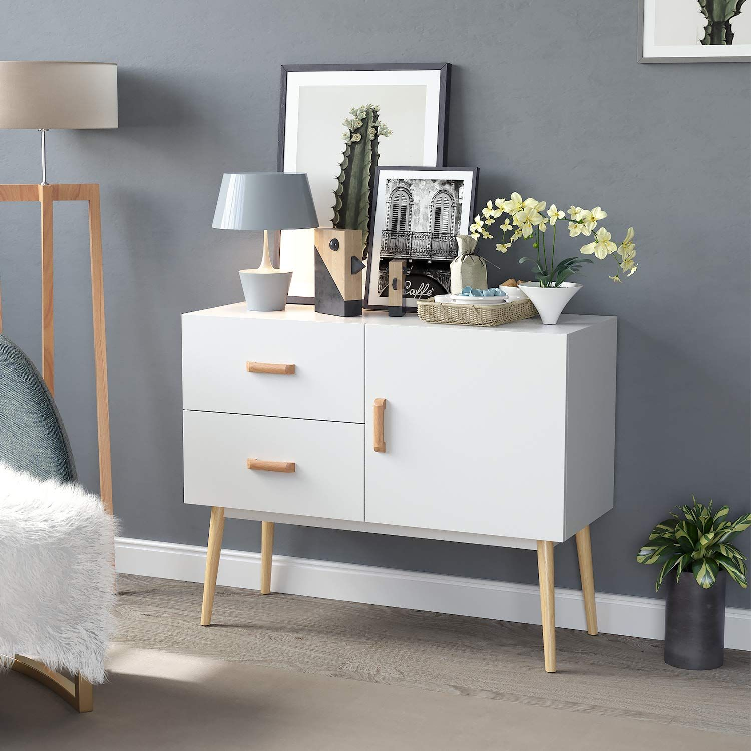 Homfa Wooden Sideboard Storage Cupboard