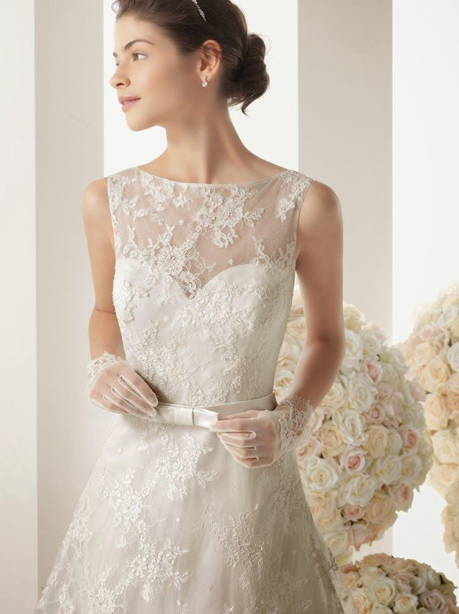 Lace Tank Top Chapel Train a Line Wedding Dress Wedding