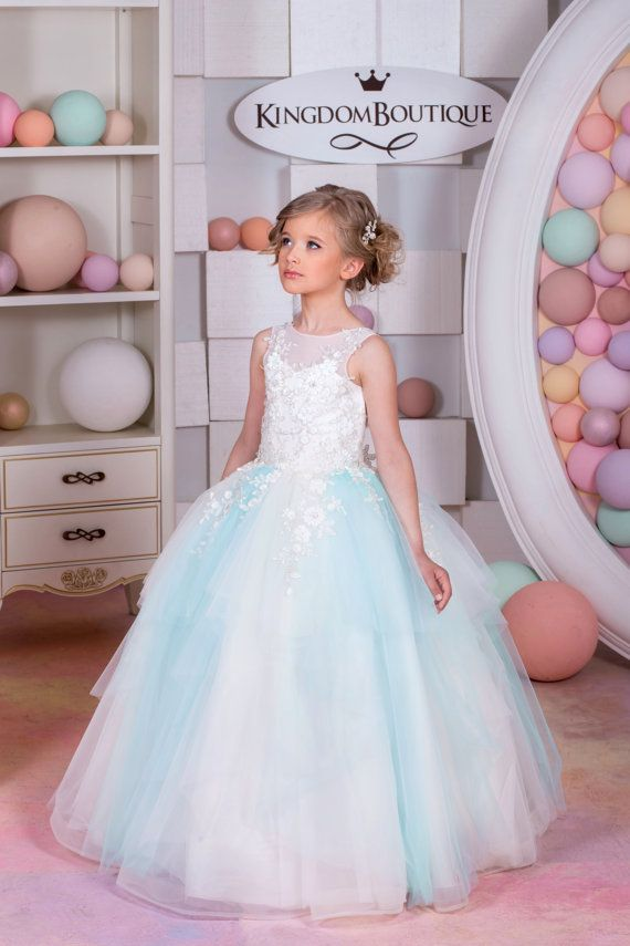 Ivory and Blue Tulle Flower Girl Dress - Birthday Wedding Party ...