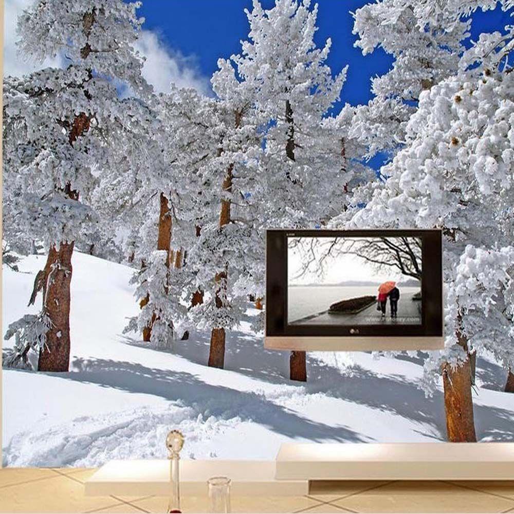 Online Shop Custom Size 3d Photo Mural Wall Paper Hd Winter Snow Tree Birch Wallpaper For Living Room Bedroo Photo Mural Wall Mural Wallpaper Birches Wallpaper