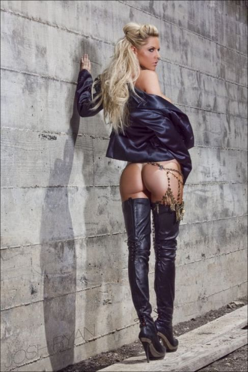 in boots Playmate leather