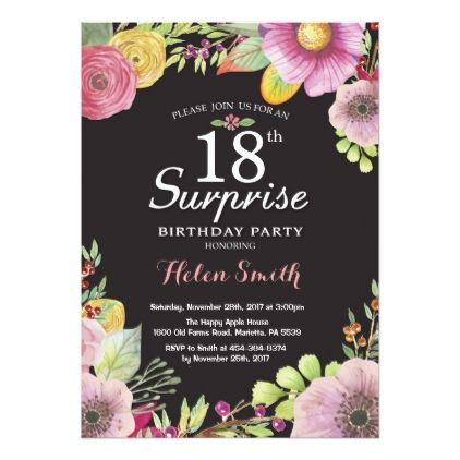 Surprise Floral 18th Birthday Invitation For Women