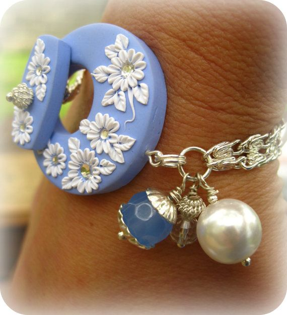 RESERVED FOR UTE: Moobie Grace - Bracelet - Polymer Clay - Flowers - Periwinkle & White - Crystals - Pearl - Free Shipping