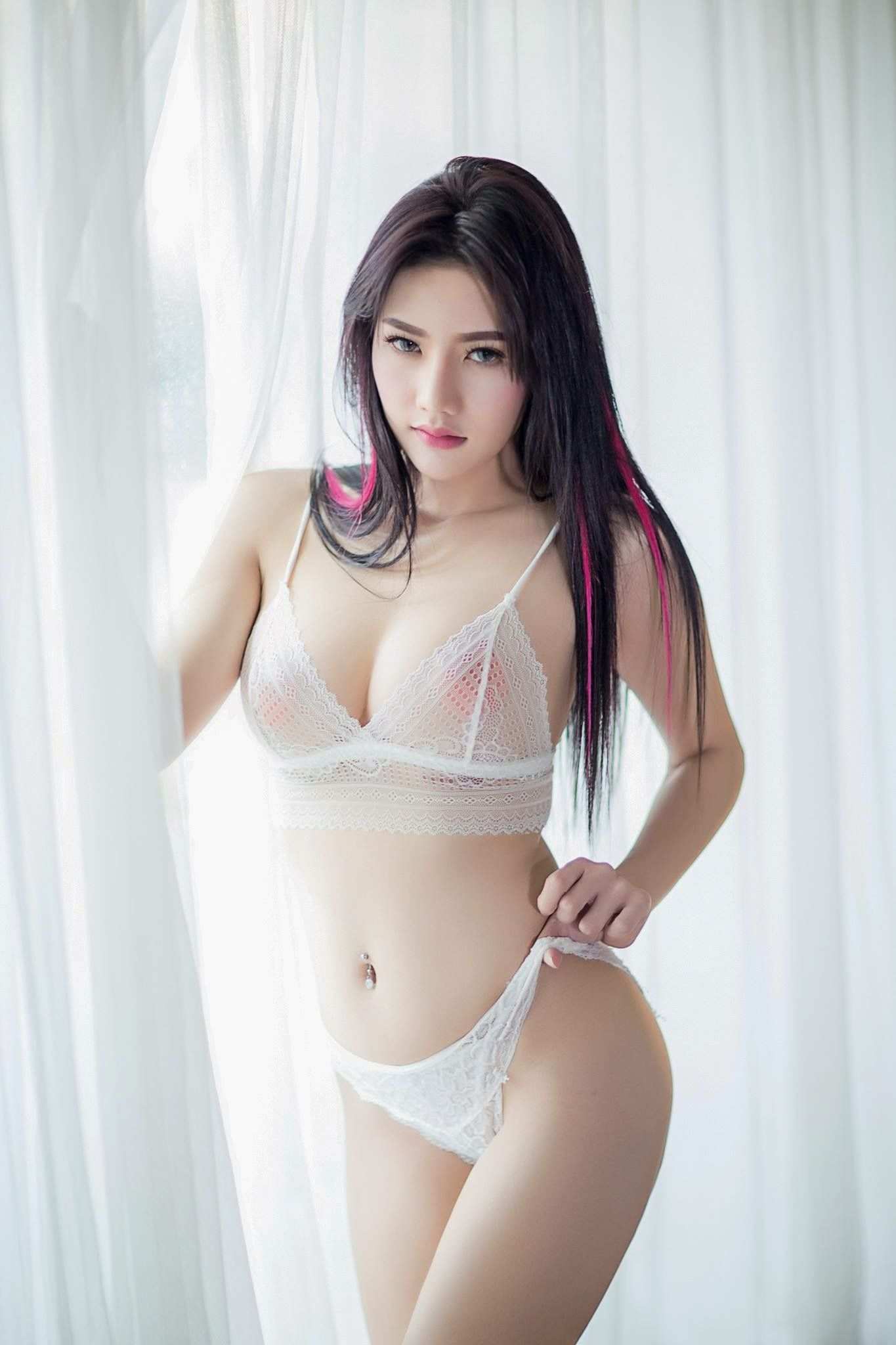 Asian girls nice boobs see thru nitey lingerie