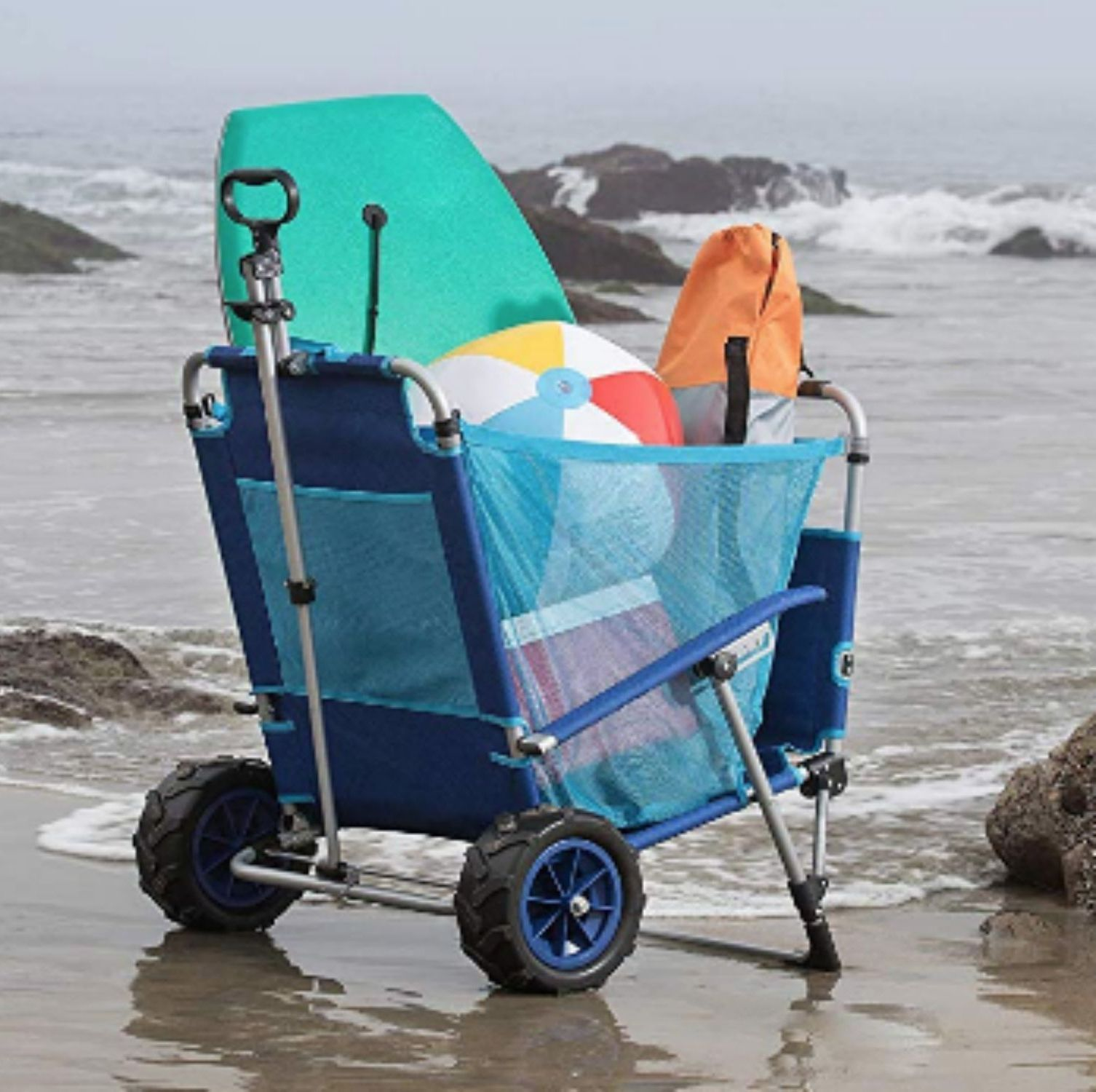This Beach Chair Transforms Into A Wagon In Seconds And You Need It Asap Beach Cart Beach Chairs Beach Gadgets