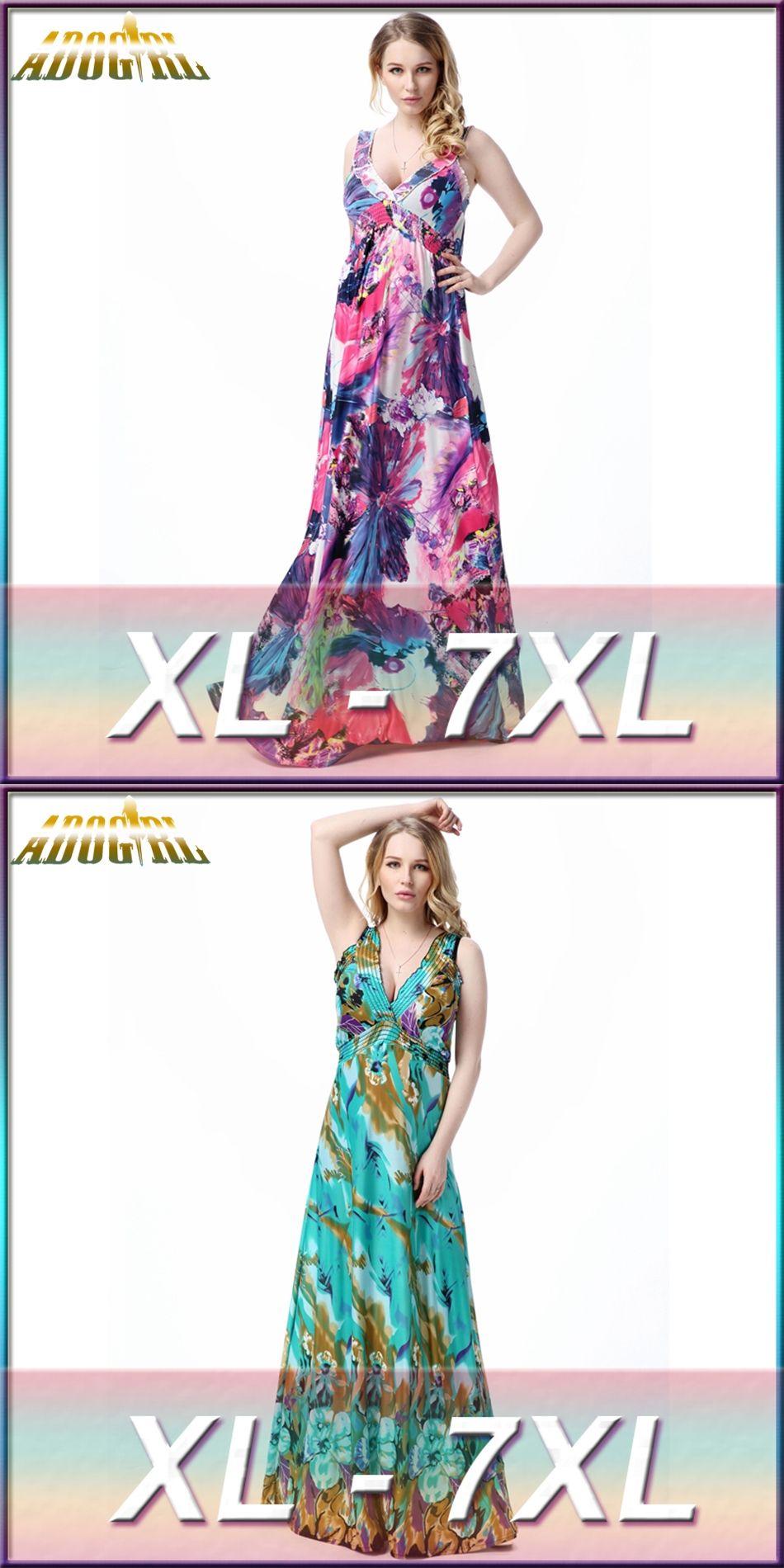 31aa3f19762 Adogirl Women Plus Size 7XL Dresses Bohemian V Neck Hollow Out High Waist  Sleeveless Print Dress
