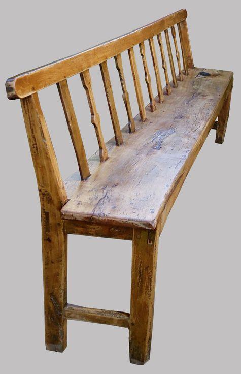 long et large banc breton ancien en bois naturel avec un haut dossier rustique en 2019 bench. Black Bedroom Furniture Sets. Home Design Ideas