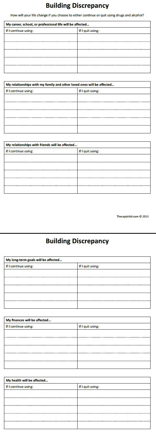 Worksheets Smart Recovery Worksheets discrepancy worksheet aoda understanding addiction pinterest aoda