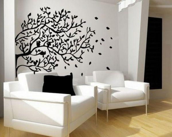Wände Streichen U2013 Ideen Für Das Wohnzimmer   Wand Farbe Streichen Idee  Wohnzimmer Muster Schwarz Weiß