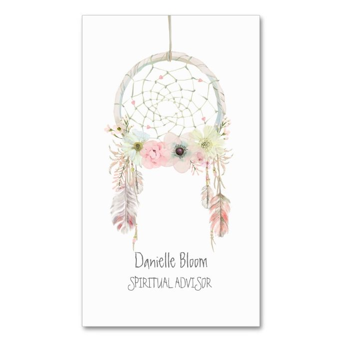 Watercolor dream catcher feathers floral double sided standard watercolor dream catcher feathers floral double sided standard business cards pack of 100 flashek Images