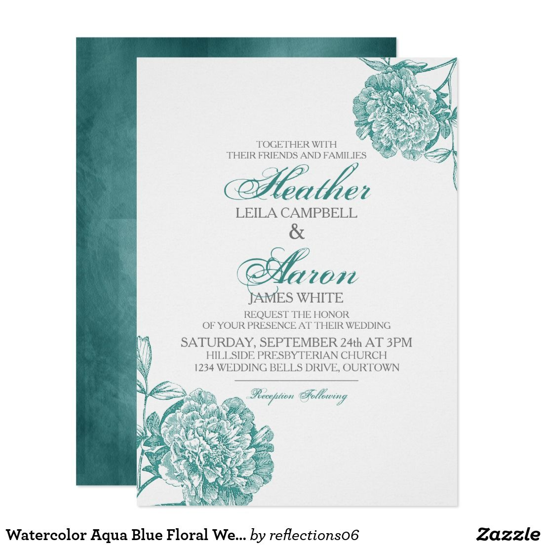 Watercolor Aqua Blue Floral Wedding Invitation Wedding Bridal