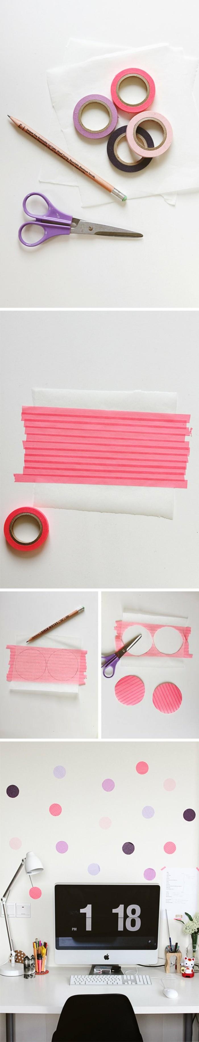 diy ideen mit washi tape wanddeko selber basteln   DIY - Do it ...