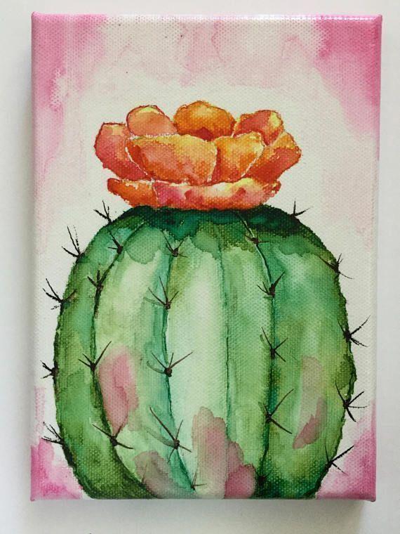 Trabalhos artísticos originais – Aguarela sobre tela – Cacto com flores – Deser…