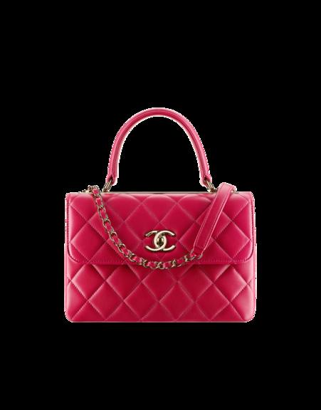Flap bag with top handle, lambskin & gold-tone metal-dark pink ...